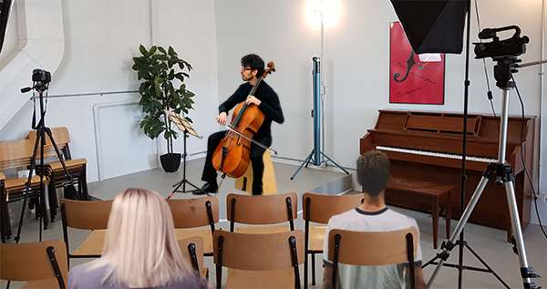 cello performer on Centre42 stage